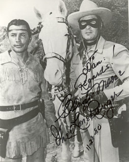 CLAYTON THE LONE RANGER MOORE - AUTOGRAPHED INSCRIBED PHOTOGRAPH 11/28/1980