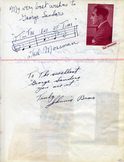 TED MOSSMAN - AUTOGRAPH MUSICAL QUOTATION SIGNED CO-SIGNED BY: JOHNNIE BIAS, ADELINE DE WALT REYNOLDS, DOYE O'DELL