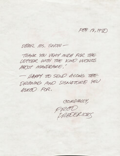 FRED FREDERICKS - AUTOGRAPH LETTER SIGNED 02/13/1980