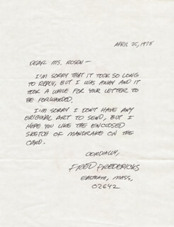 FRED FREDERICKS - AUTOGRAPH LETTER SIGNED 04/25/1978