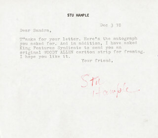 STU HAMPLE - TYPED LETTER SIGNED 12/03/1978