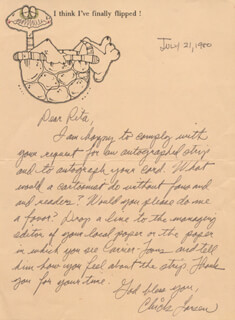 CARL CHICK LARSEN - AUTOGRAPH LETTER SIGNED 07/21/1980