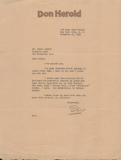 DON HEROLD - TYPED LETTER SIGNED 11/10/1941