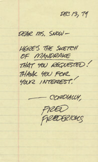 FRED FREDERICKS - AUTOGRAPH LETTER SIGNED 12/13/1979
