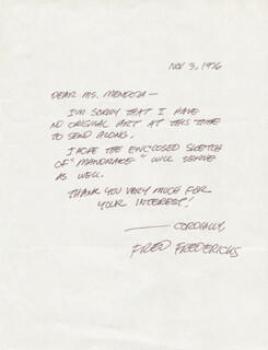 FRED FREDERICKS - AUTOGRAPH LETTER SIGNED 11/03/1976