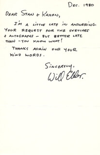 WILL ELDER - AUTOGRAPH LETTER SIGNED 12/1980