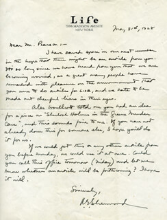 ROBERT E. SHERWOOD - AUTOGRAPH LETTER SIGNED 05/31/1928