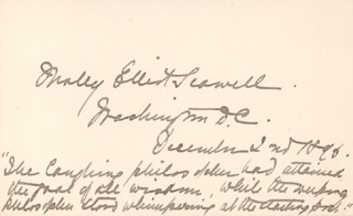 Autographs: MOLLY ELLIOT SEAWELL - AUTOGRAPH QUOTATION SIGNED 12/02/1896