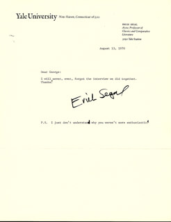 ERICH SEGAL - TYPED LETTER SIGNED 08/13/1970