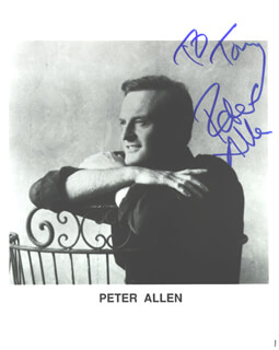 PETER ALLEN - AUTOGRAPHED INSCRIBED PHOTOGRAPH  - HFSID 186888