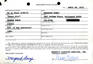 MAGNUM FORCE MOVIE CAST - ONE DAY MOVIE CONTRACT SIGNED 04/24/1973 CO-SIGNED BY: NESSA HYAMS, MARGARET AVERY