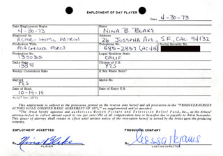 MAGNUM FORCE MOVIE CAST - ONE DAY MOVIE CONTRACT SIGNED 04/30/1973 CO-SIGNED BY: NESSA HYAMS, NINA B. BLAKE