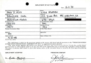 MAGNUM FORCE MOVIE CAST - ONE DAY MOVIE CONTRACT SIGNED 05/01/1973 CO-SIGNED BY: JOHN G. WILSON, LISA HERMAN