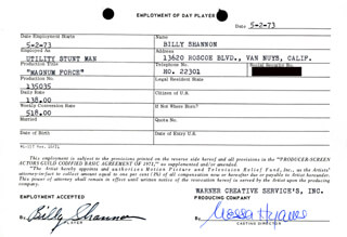 MAGNUM FORCE MOVIE CAST - ONE DAY MOVIE CONTRACT SIGNED 05/02/1973 CO-SIGNED BY: NESSA HYAMS, BILL SHANNON