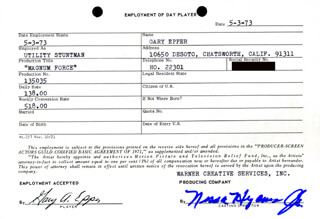 GARY A. EPPER - ONE DAY MOVIE CONTRACT SIGNED 05/03/1973