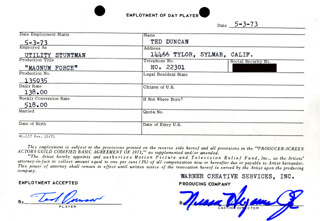 TED DUNCAN - ONE DAY MOVIE CONTRACT SIGNED 05/03/1973