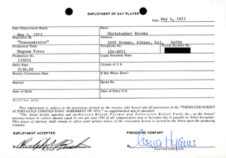 MAGNUM FORCE MOVIE CAST - ONE DAY MOVIE CONTRACT SIGNED 05/04/1973 CO-SIGNED BY: NESSA HYAMS, CHRISTOPHER BROOKS