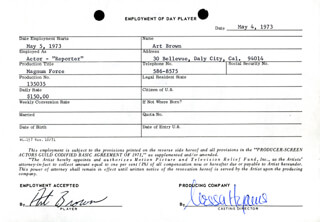MAGNUM FORCE MOVIE CAST - ONE DAY MOVIE CONTRACT SIGNED 05/04/1973 CO-SIGNED BY: NESSA HYAMS, ART BROWN