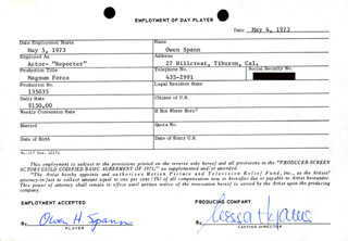 MAGNUM FORCE MOVIE CAST - ONE DAY MOVIE CONTRACT SIGNED 05/04/1973 CO-SIGNED BY: NESSA HYAMS, OWEN SPANN