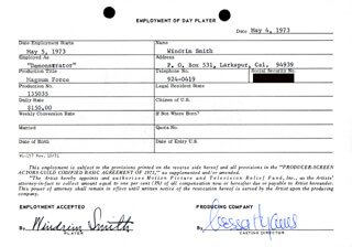 MAGNUM FORCE MOVIE CAST - ONE DAY MOVIE CONTRACT SIGNED 05/04/1973 CO-SIGNED BY: NESSA HYAMS, WINDRIM SMITH