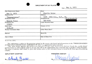 MAGNUM FORCE MOVIE CAST - ONE DAY MOVIE CONTRACT SIGNED 05/04/1973 CO-SIGNED BY: NESSA HYAMS, CHARLIE RAINO