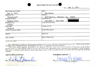 MAGNUM FORCE MOVIE CAST - ONE DAY MOVIE CONTRACT SIGNED 05/04/1973 CO-SIGNED BY: NESSA HYAMS, BOB MARCH