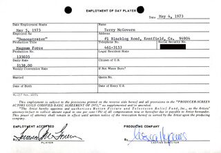 MAGNUM FORCE MOVIE CAST - ONE DAY MOVIE CONTRACT SIGNED 05/04/1973 CO-SIGNED BY: NESSA HYAMS, TERENCE MCGOVERN