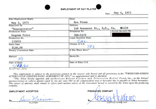 MAGNUM FORCE MOVIE CAST - ONE DAY MOVIE CONTRACT SIGNED 05/04/1973 CO-SIGNED BY: NESSA HYAMS, BEN NIEMS