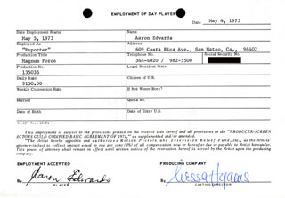 MAGNUM FORCE MOVIE CAST - ONE DAY MOVIE CONTRACT SIGNED 05/04/1973 CO-SIGNED BY: NESSA HYAMS, AARON EDWARDS