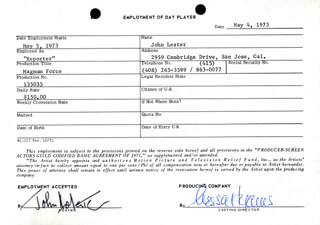 MAGNUM FORCE MOVIE CAST - ONE DAY MOVIE CONTRACT SIGNED CO-SIGNED BY: NESSA HYAMS, JOHN LESTER