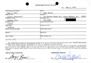 MAGNUM FORCE MOVIE CAST - ONE DAY MOVIE CONTRACT SIGNED CO-SIGNED BY: NESSA HYAMS, GWYN KARON