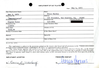 MAGNUM FORCE MOVIE CAST - ONE DAY MOVIE CONTRACT SIGNED CO-SIGNED BY: NESSA HYAMS, BRUCE MACKEY