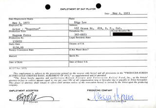 MAGNUM FORCE MOVIE CAST - ONE DAY MOVIE CONTRACT SIGNED 05/04/1973 CO-SIGNED BY: NESSA HYAMS, EDGY LEE