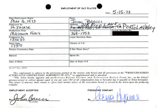 MAGNUM FORCE MOVIE CAST - ONE DAY MOVIE CONTRACT SIGNED 05/15/1973 CO-SIGNED BY: NESSA HYAMS, JOHN BRACCI