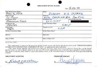 MAGNUM FORCE MOVIE CAST - ONE DAY MOVIE CONTRACT SIGNED 05/15/1973 CO-SIGNED BY: NESSA HYAMS, ROBERT V.R. WARE