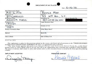 MAGNUM FORCE MOVIE CAST - ONE DAY MOVIE CONTRACT SIGNED 05/15/1973 CO-SIGNED BY: NESSA HYAMS, ANGELA MAY