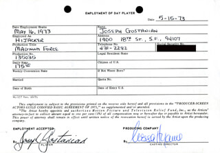 MAGNUM FORCE MOVIE CAST - ONE DAY MOVIE CONTRACT SIGNED 05/15/1973 CO-SIGNED BY: NESSA HYAMS, JOSEPH GOSTANIAN