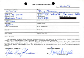 MAGNUM FORCE MOVIE CAST - ONE DAY MOVIE CONTRACT SIGNED 05/15/1973 CO-SIGNED BY: NESSA HYAMS, JULIE ANN JOHNSON