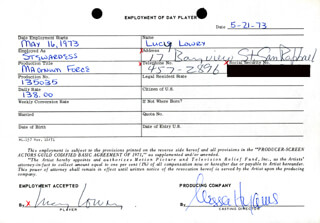 MAGNUM FORCE MOVIE CAST - ONE DAY MOVIE CONTRACT SIGNED 05/21/1973 CO-SIGNED BY: NESSA HYAMS, LUCY LOWRY