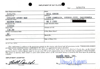 MAGNUM FORCE MOVIE CAST - ONE DAY MOVIE CONTRACT SIGNED CO-SIGNED BY: NESSA HYAMS, BILL COUCH