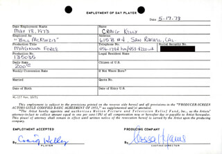 MAGNUM FORCE MOVIE CAST - ONE DAY MOVIE CONTRACT SIGNED 05/17/1973 CO-SIGNED BY: NESSA HYAMS, CRAIG KELLY