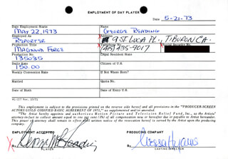 MAGNUM FORCE MOVIE CAST - ONE DAY MOVIE CONTRACT SIGNED 05/21/1973 CO-SIGNED BY: NESSA HYAMS, GEORGE READING