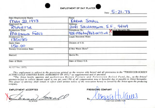 MAGNUM FORCE MOVIE CAST - ONE DAY MOVIE CONTRACT SIGNED 05/21/1973 CO-SIGNED BY: NESSA HYAMS, KARNA SMALL BODMAN