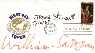 WILLIAM SAROYAN - FIRST DAY COVER SIGNED 05/10/1969 CO-SIGNED BY: JESSE HILTON STUART