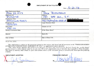 MAGNUM FORCE MOVIE CAST - ONE DAY MOVIE CONTRACT SIGNED 05/21/1973 CO-SIGNED BY: NESSA HYAMS, JACK ROSENBAUM