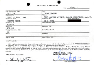 MAGNUM FORCE MOVIE CAST - ONE DAY MOVIE CONTRACT SIGNED 05/21/1973 CO-SIGNED BY: NESSA HYAMS, CHUCK WATERS