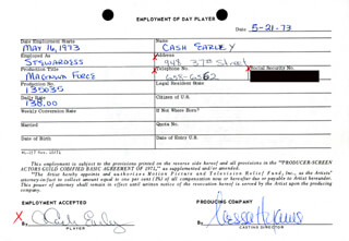 MAGNUM FORCE MOVIE CAST - ONE DAY MOVIE CONTRACT SIGNED 05/21/1973 CO-SIGNED BY: NESSA HYAMS, CASH EARLEY