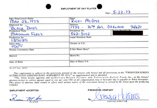 MAGNUM FORCE MOVIE CAST - ONE DAY MOVIE CONTRACT SIGNED 05/22/1973 CO-SIGNED BY: NESSA HYAMS, RICCI MCGEE