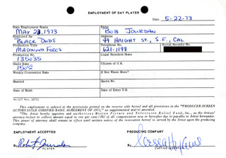 MAGNUM FORCE MOVIE CAST - ONE DAY MOVIE CONTRACT SIGNED 05/22/1973 CO-SIGNED BY: NESSA HYAMS, ROBERT JOURDAN