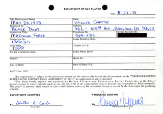 MAGNUM FORCE MOVIE CAST - ONE DAY MOVIE CONTRACT SIGNED 05/22/1973 CO-SIGNED BY: NESSA HYAMS, WILLIE R. CARTER